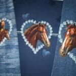 0,80m Stenzo French Terry Stoff Panel I love Pferde blau (Grundpreis: 18,62€)