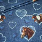 Stenzo French Terry Jersey Stoff I love Pferde Allover blau