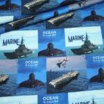 Stenzo French Terry Jersey Stoff Marine Schiffe Maritim