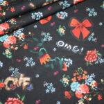 Stenzo French Terry Jersey Stoff schwarz bunte Blumen Cool Girl