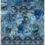 2,10m Stenzo Jersey Stoff Panel blau bunt Blumen (1mGrundpreis: 15,19€)