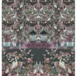 2,10m Stenzo Jersey Stoff Panel Vögel bunt Blumen braun (1mGrundpreis: 15,19€)