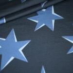 Hilco Dünner French Terry Jersey Stoff by Jatiju Big Pattern blau Sterne
