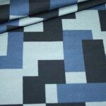 Hilco Dünner French Terry Jersey Stoff by Jatiju Big Pattern blau Karo Muster