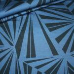 Hilco Dünner French Terry Jersey Stoff by Jatiju Big Pattern blau Muster Streifen